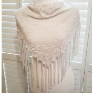Country Western Crochet Style Fringed Scarve Wrap